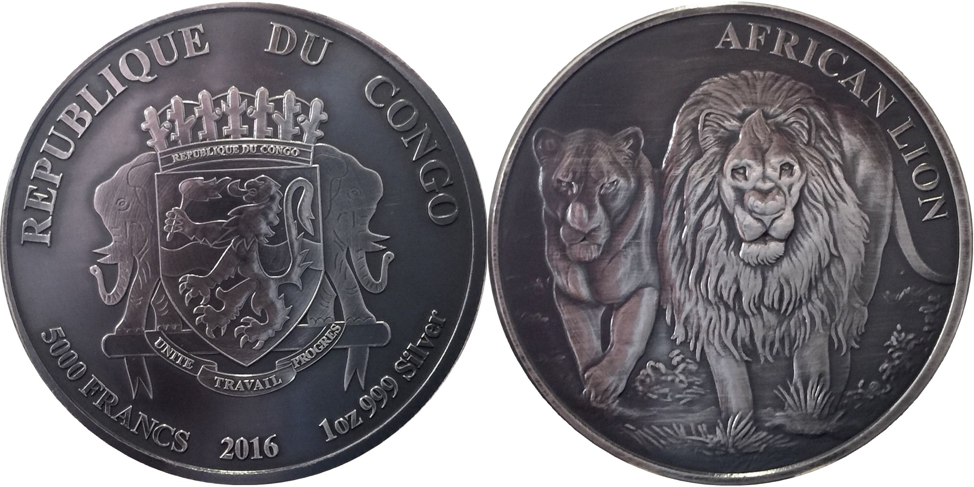 congo 2016 lion antique