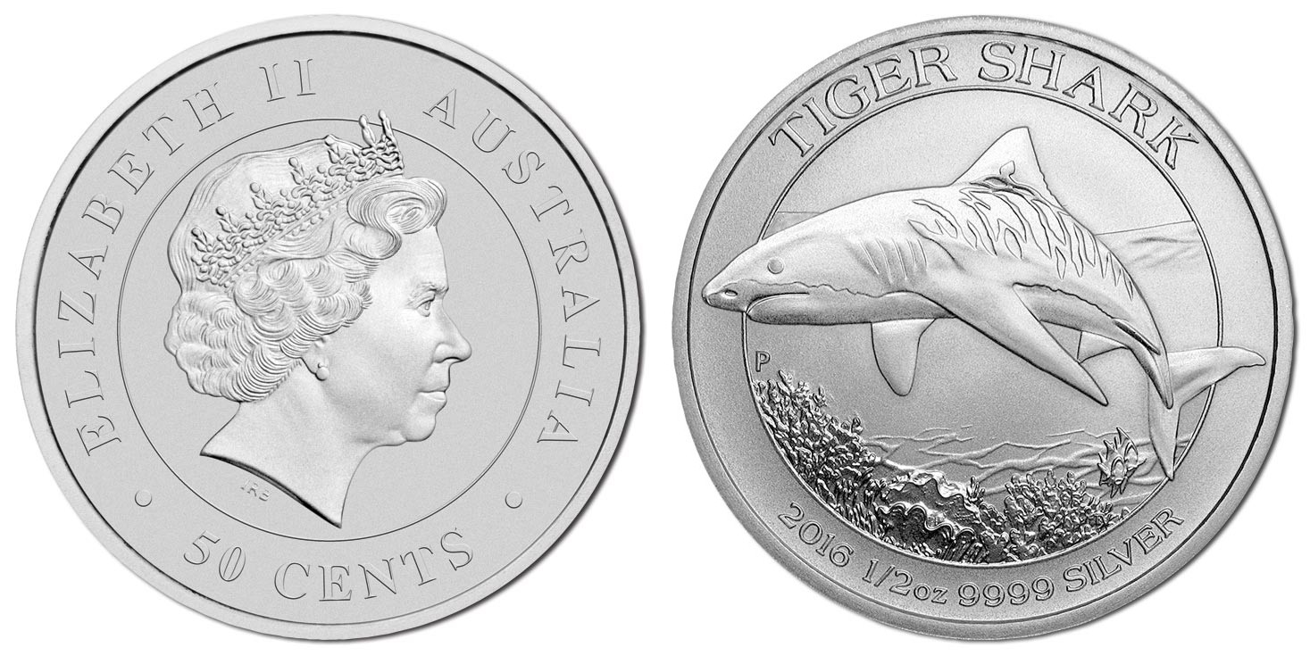 australie 2016 requin tigre bullion