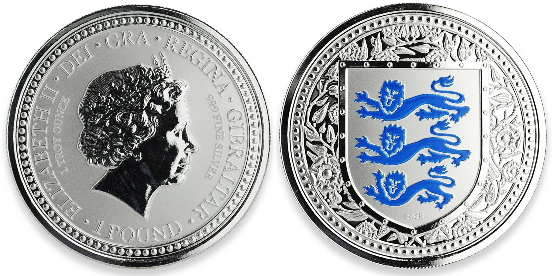gibraltar 2018 armes royales d'angleterre bleu