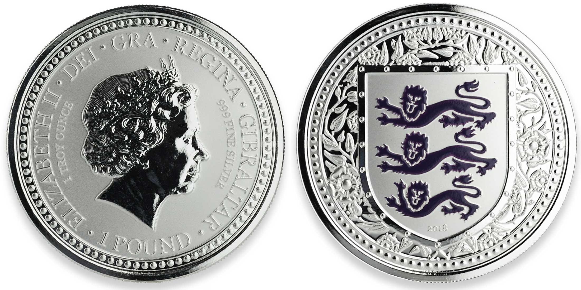 gibraltar 2018 armes royales d'angleterre violet