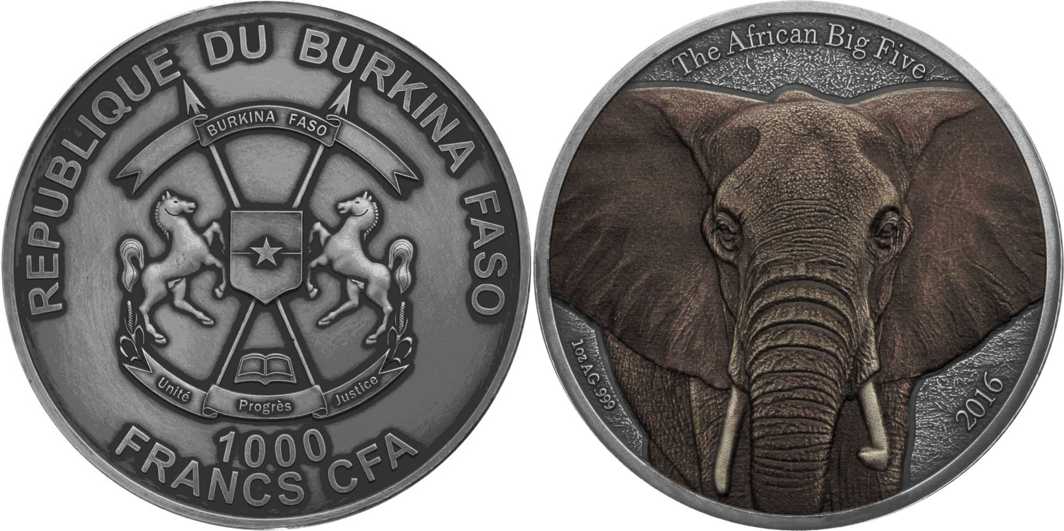 burkina faso 2016 big five éléphant couleur