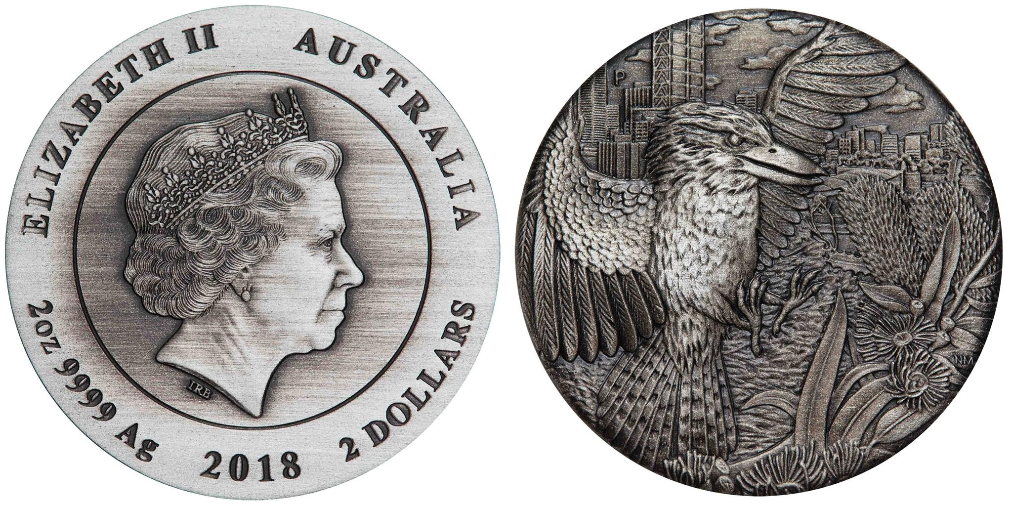 australie 2018 kookaburra relief antique 2 oz