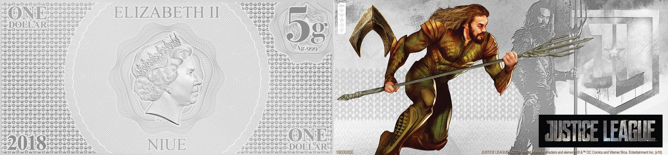 niue 2018 billet ligue de justice aquaman