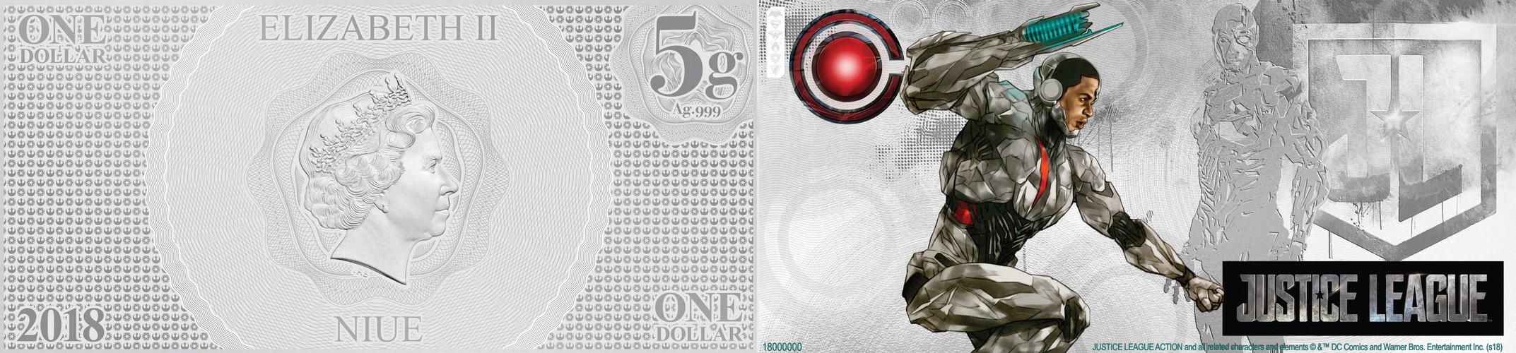 niue 2018 billet ligue de justice cyborg