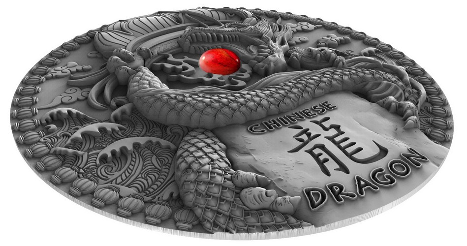 niue 2018 dragon chinois relief