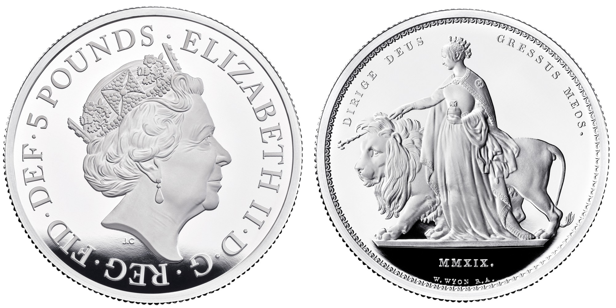 Una and the Lion 2019 UK Two-Ounce Silver Proof Coin obverse - UK19UL2S