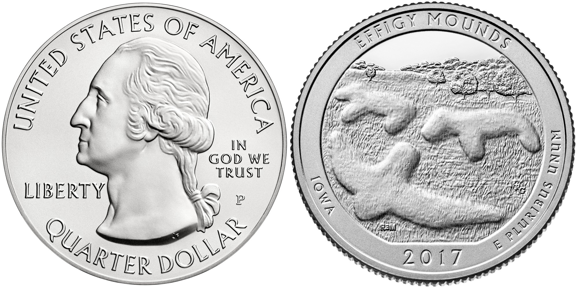 états-unis 2017 quarter iowa effigy mounds