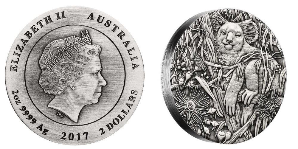 australie 2017 koala haut relief 2 oz