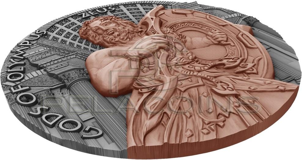 niue 2017 dieux de l'olympe zeus relief