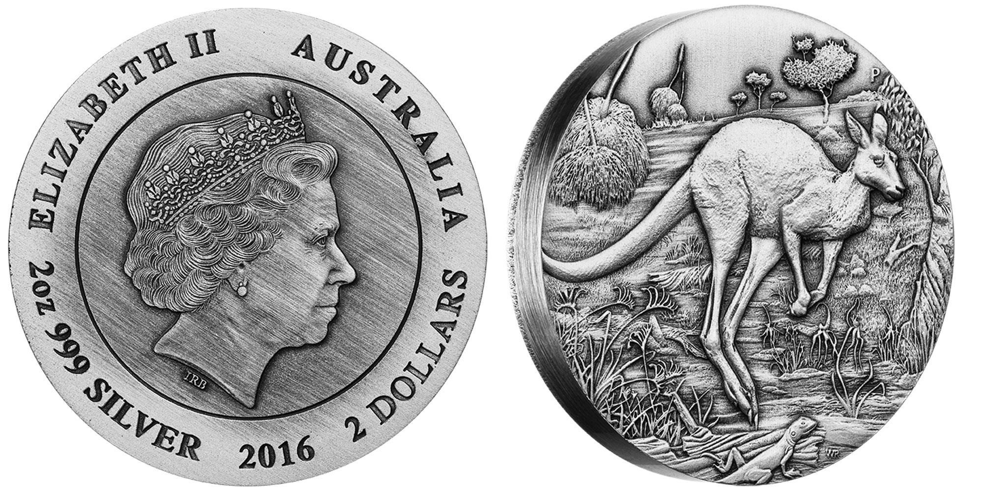 australie 2016 kangourou haut relief 2 oz