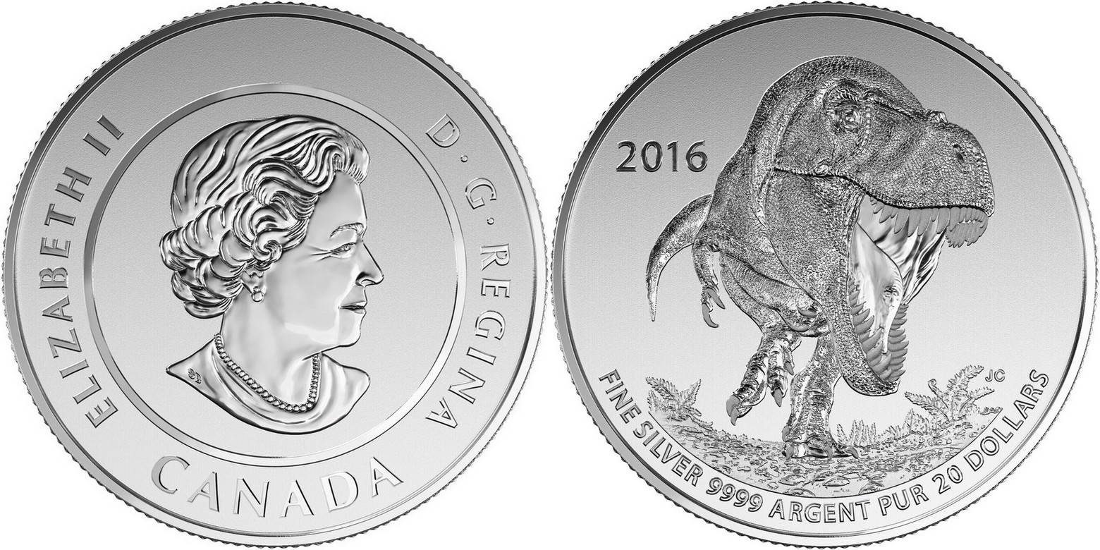 canada 2016 20$ pour 20$ tyrannosaure
