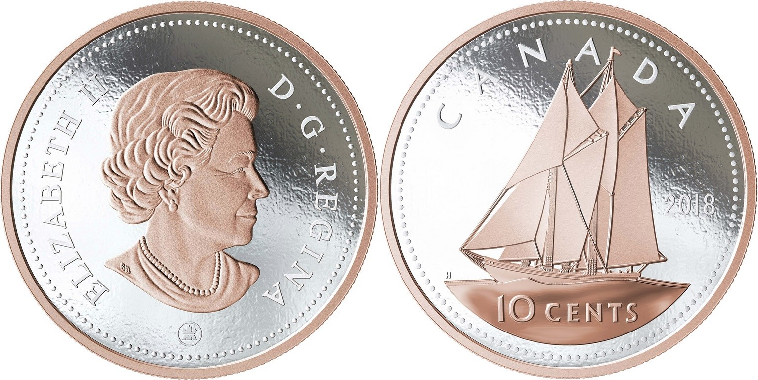 canada 2018 grosse pièce 10 cents bluenose