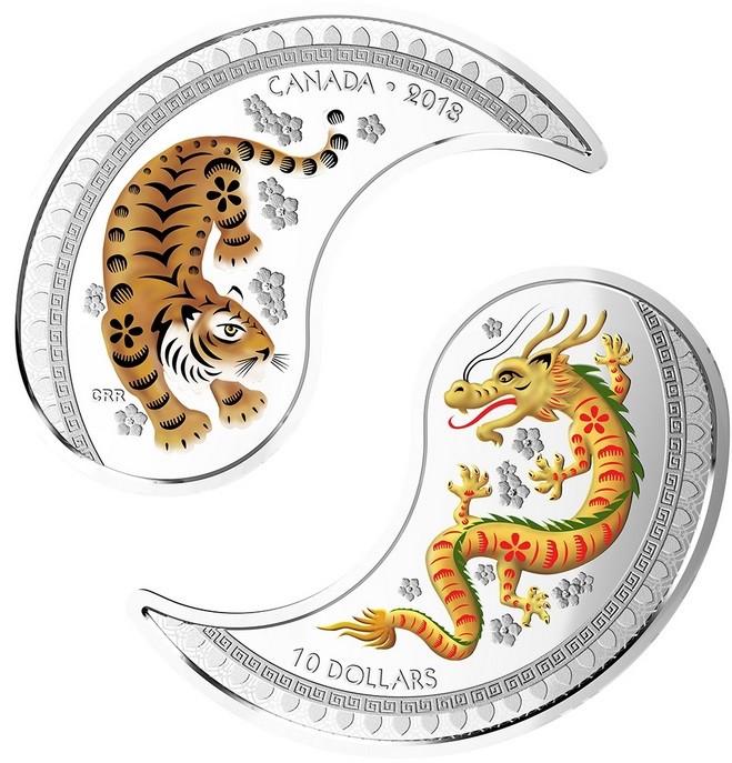 canada 2018 yin & yan tigre et dragon spilt