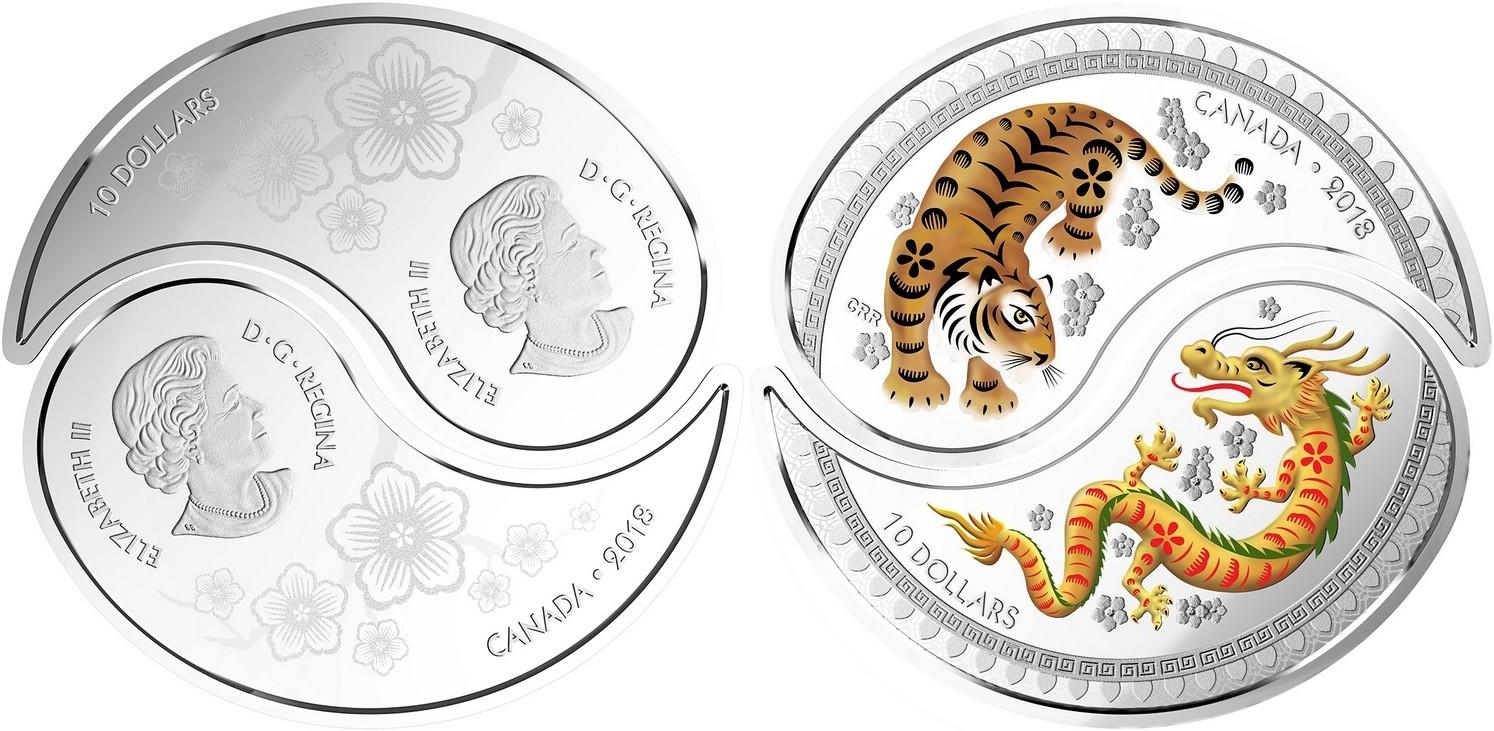 canada 2018 yin & yan tigre et dragon