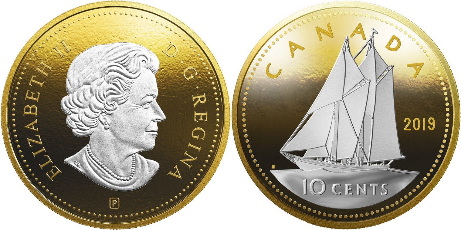canada 2019 grosses pièces 10 cts bluenose