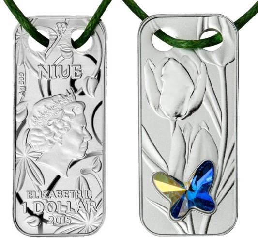 niue 2015 pendentif papillon