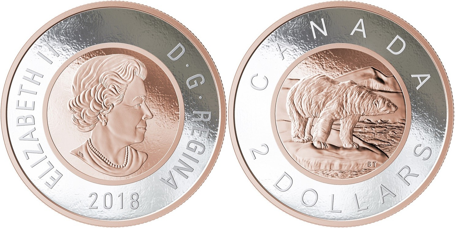 canada 2018 grosse pièce 2 dollars ours polaire