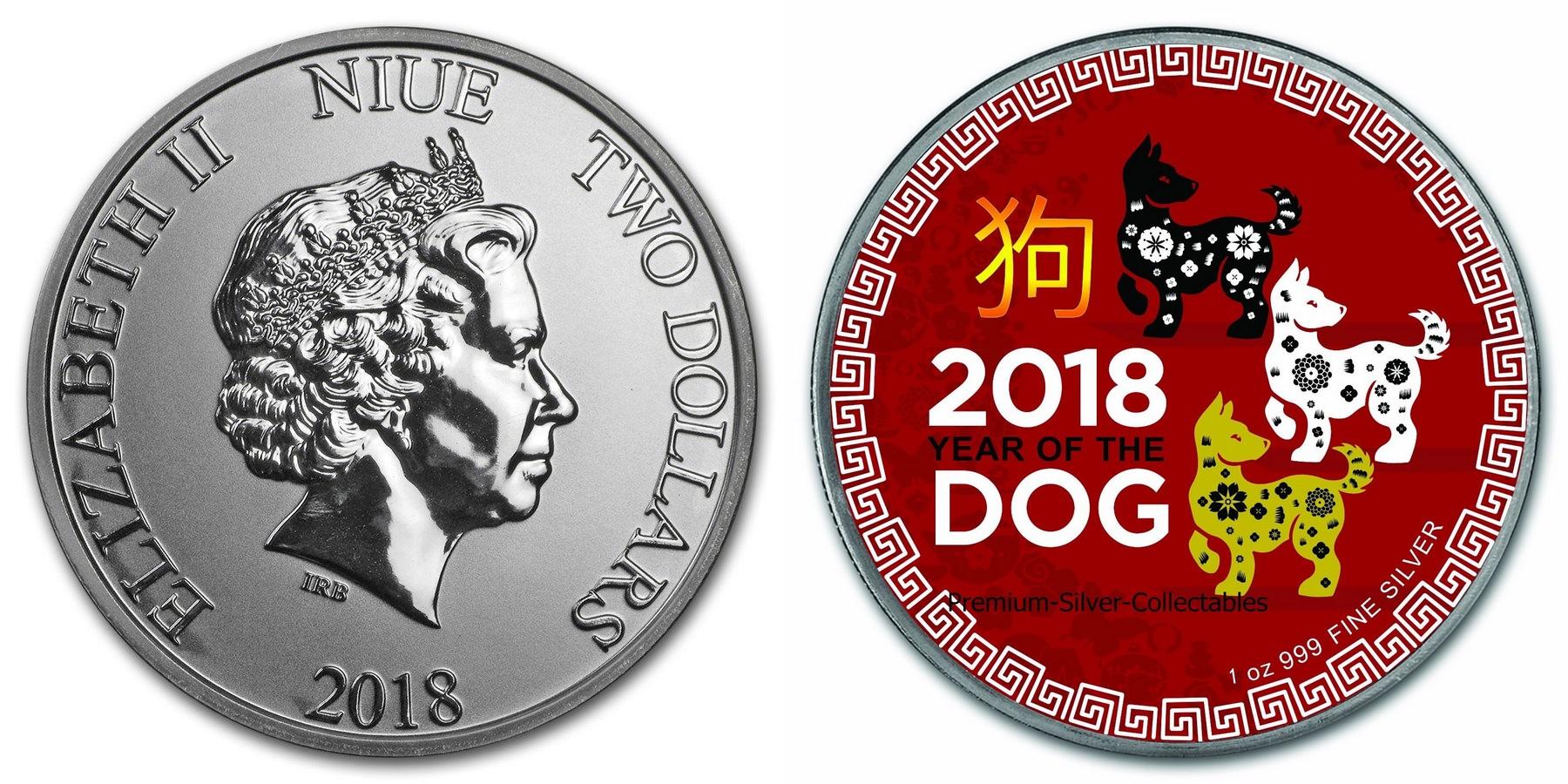 niue 2018 chien couleur bu