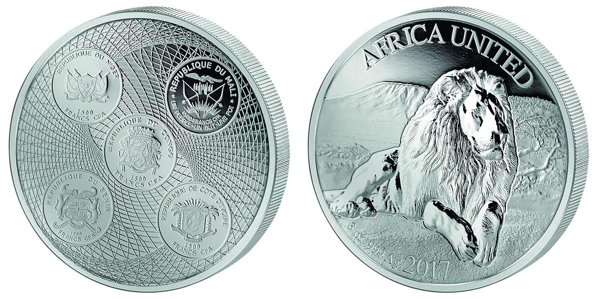 afrique unie 2017 lion 3 oz