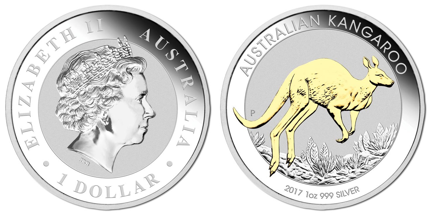 australie 2017 kangourou plaq or