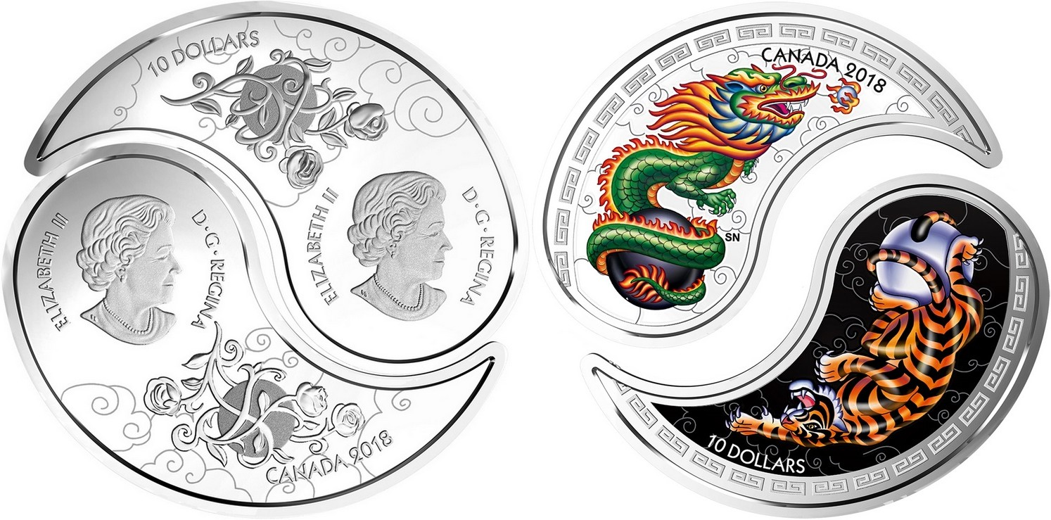 canada 2018 yin & yang blanc et noir tigre et dragon