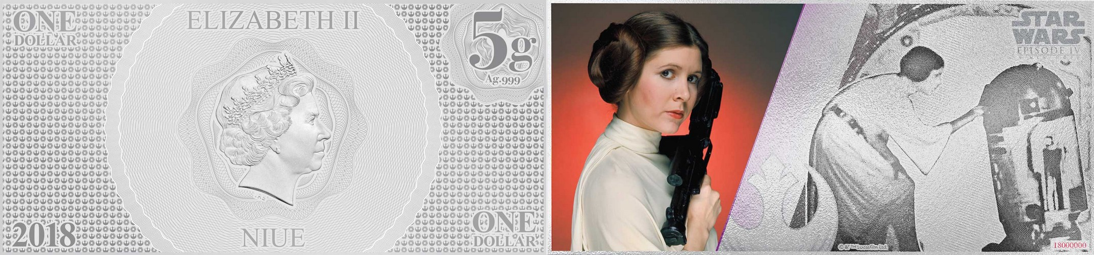 niue 2018 billet star wars princesse leia