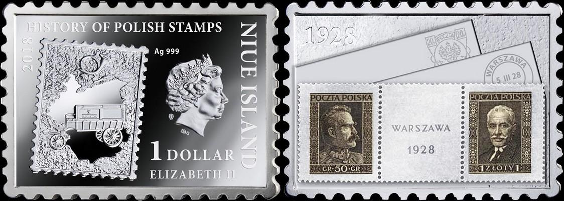 niue 2018 histoire des timbres polonais varsovie 1928