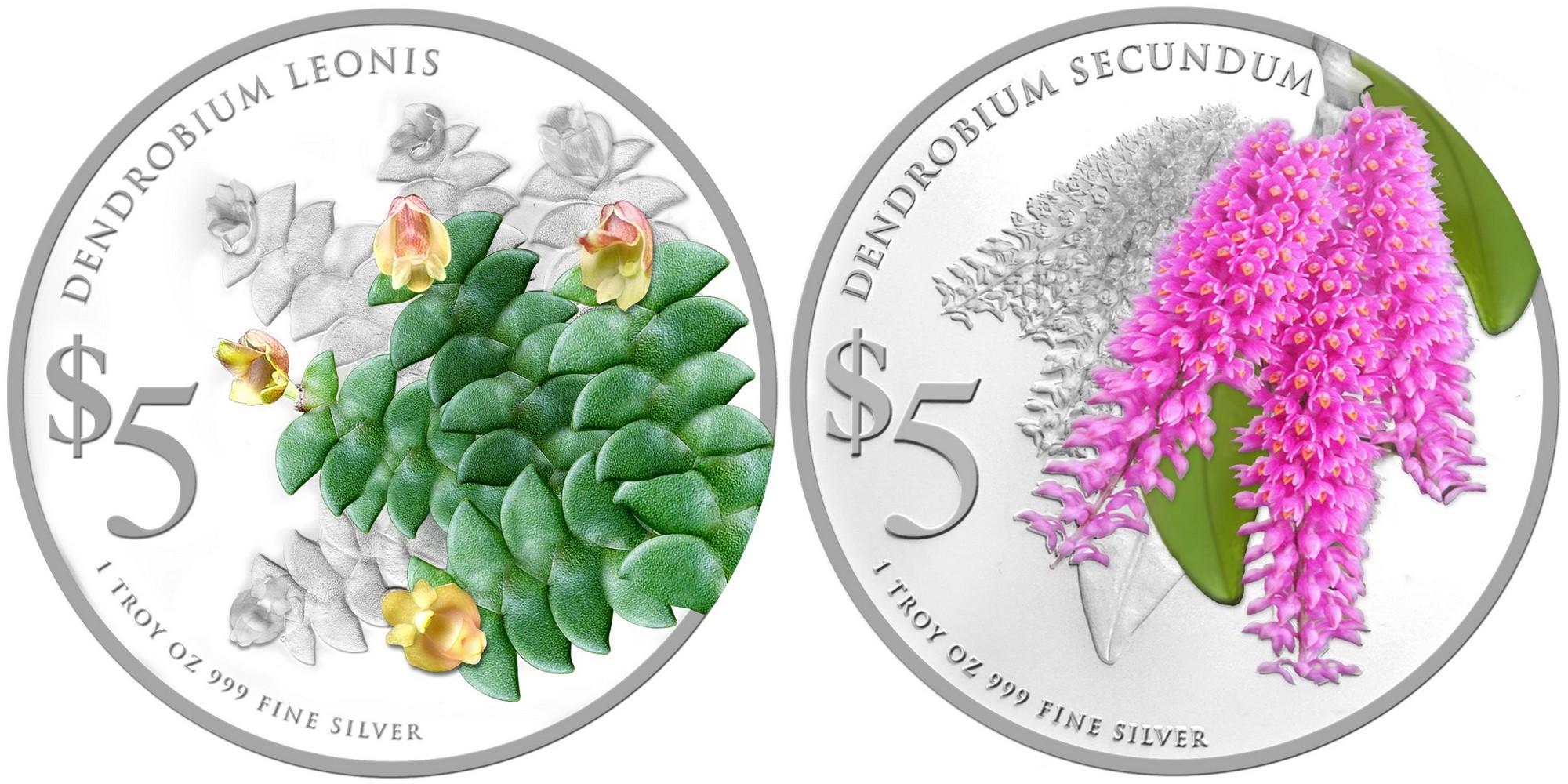 singapour 2015 fleur dendrobium set