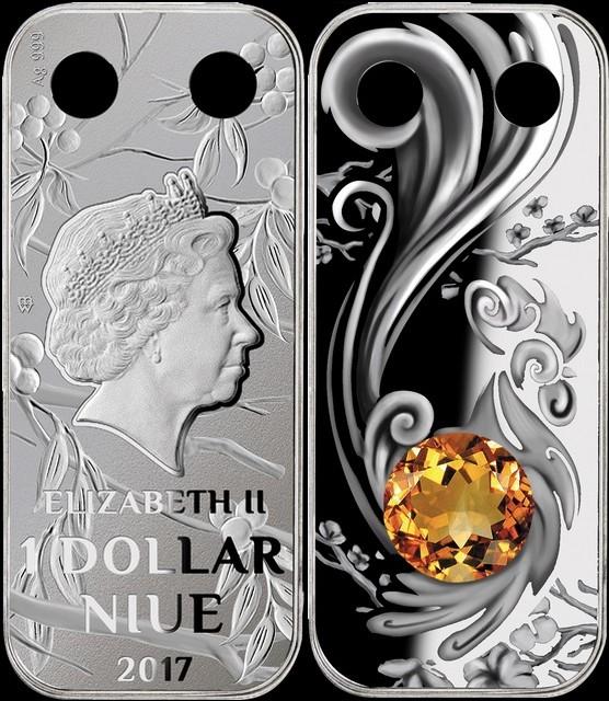 niue 2017 coq talisman pendentif