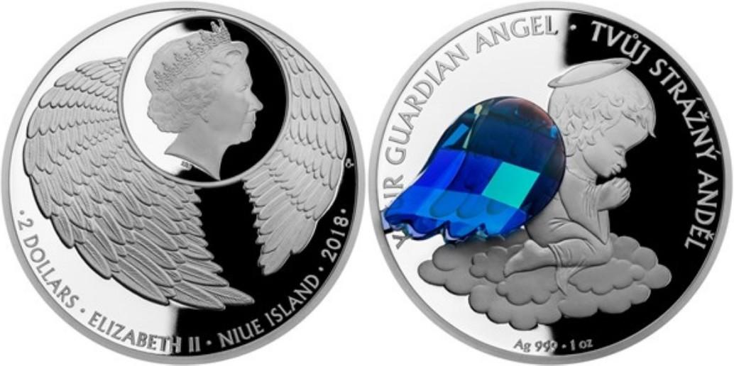 niue 2018 ange gardien cristal bleu