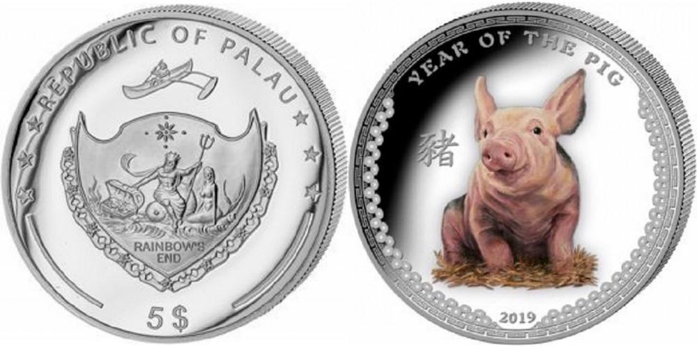 palau 2019 cochon couleur 500 ex