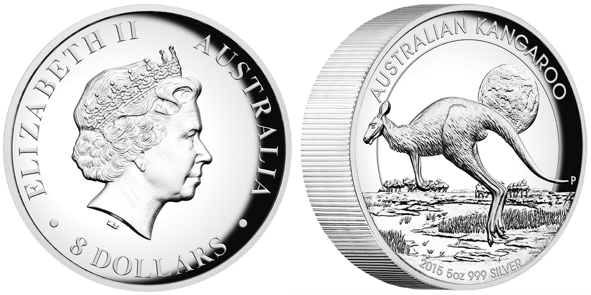 australie 2015 kangourou haut relief 5 oz