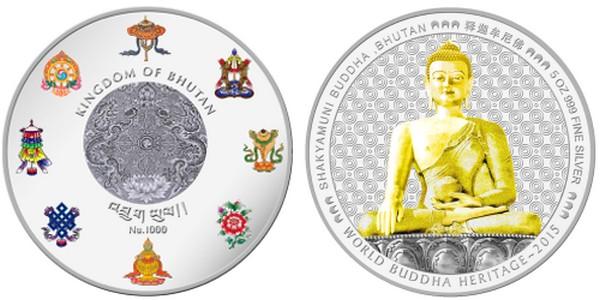 bhoutan 2015 bouddha shakyamuni 5 oz